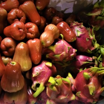 rose apple and dragonfruit